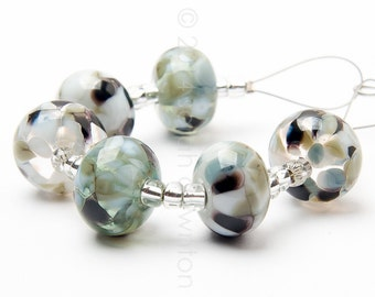 Grey Quartz Mix - Handmade Lampwork Glass Beads by Sarah Downton