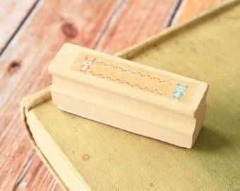 cute BEAR Merrytree fancy border rubber stamp