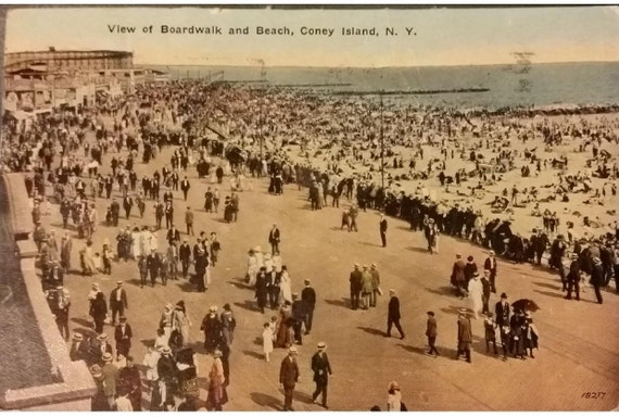 Vintage 1920 S Postcard Of Coney Island Ny Boardwalk By