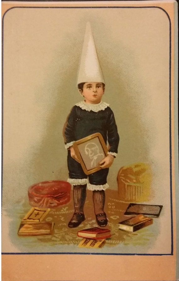 Early Vintage Blank Back Card Or Postcard School Boy By