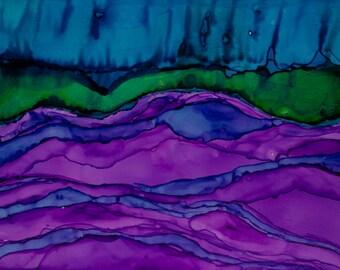 Original art, alcohol ink art, painting, original painting, landscape, colorful 5x7