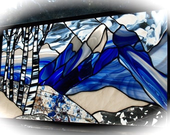 Grand Tetons Stained Glass Winter Panel also in Autumn or Summer