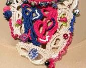 On Sale - STATEMENT NECKLACE/BIB - Wearable Fiber Art Jewelry, Romantic & Feminine, Adjustable Length, Richly Jeweled