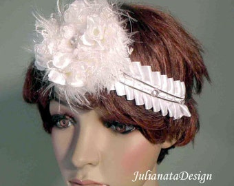 BRIDAL DIADEM/HEADBAND - Wearable Textile Art, Wedding Ensemble, Richly Decorated, Freeform Crocheted Brooch