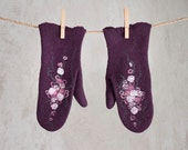 Felted purple mittens violet merino wool gloves with flowers pink white arm warmers Russian style women eggplant mittens Christmas gift