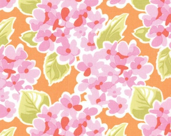 HONEY HONEY Moda Fabric 3 yds Kate Spain PINK hydrangeas on Sunset orange modern quilting sewing 3 full yards 27142-13