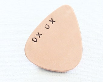 Guitar pick hand stamped XO XO copper plectrum, music lover, gifts for him