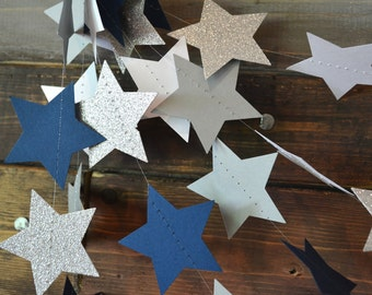 Dallas Cowboys Inspired Glittery Star Football Navy, Silver and White Garland, Photo Prop, NFL Decor, Football Party, Classroom Decor, Etc