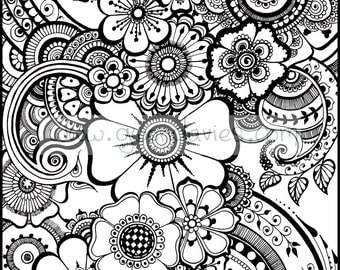 beautiful henna flowers and paisleys colouring in sheet instant download - Colouring In Sheet