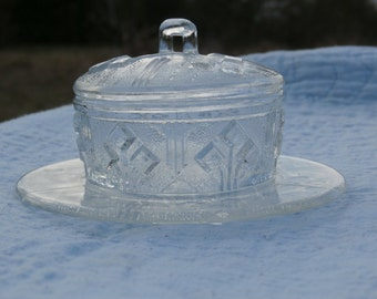 Vintage Art Deco Style Powder Box with Attached Underplate, Glass Lidded Dish