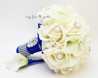 Real Touch Bridal Bouquet Stephanotis Roses Calla Lilies White Cobalt Blue & Groom's Boutonniere - Customize for Your Colors