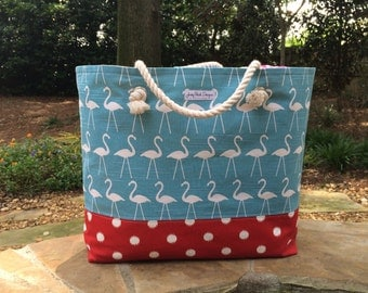 Flamingo Polka Dot Beach Bag, Large Tote, Beach Tote, Monogram Beach Bag