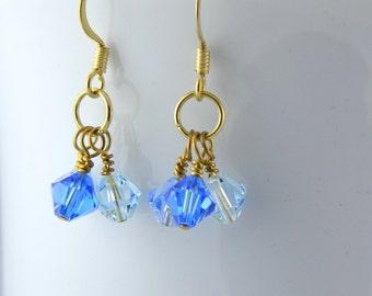 Blue Crystal Earrings with Swarovski Crystal Elements, Blue Short Dangle Earrings, Gold Earrings