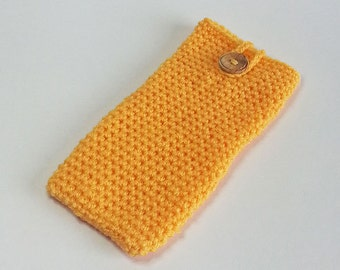 Phone Cosy in Saffron - Crochet Phone Cosy - Smart Phone Cosy - SALE
