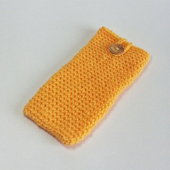 Saffron Crochet Smart Phone Cosy, Gadget Cozy, Gadget Cosy, Yellow ...