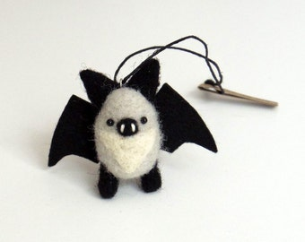 Miniature bat needle felted animal ornament : gray, black wool bat