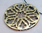 Cathedral Window Medieval Gothic Tracery Pendant in Brass, Copper, and silver