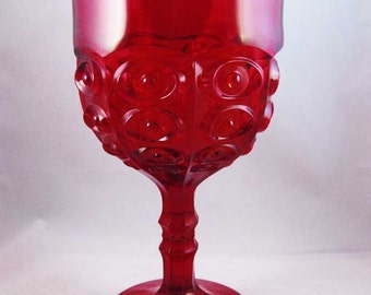 Viking Glass Yesteryear Bullseye Ruby Red Compote Goblet #1806 Circa 1960's