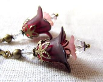 Wine Red Flower Earrings, Merlot, Romantic Floral Earrings, Botanical Jewelry, Floral Jewelry, Antiqued Brass, Vintage Style Flower Earrings