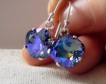 Purple Crystal Earrings, Glacier, Iced Tanzanite, Cushion Cut, Lavender Crystal Earrings, Wedding Earring, Swarovski, Sterling Silver