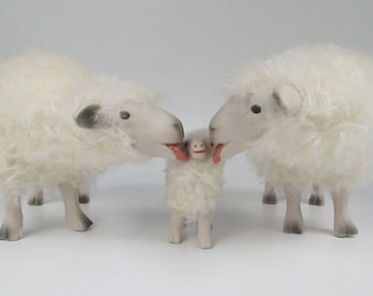 Porcelain Sheep Family,  Woolly English Cotswold Licking