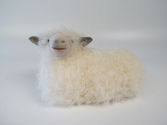 English Cotswold Sheep Figure in Porcelain and Mohair, Lying