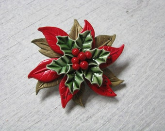 Vintage Christmas flower pin brooch with berry center & Mary statue on back