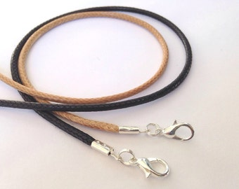 "NEW! 6 pcs Waxed Nylon Necklace Cords Any Length Black Natural Handmade in USA 14"" 16"" 17"" 18"" 19"" 20"" 22"" 24"" 26"""