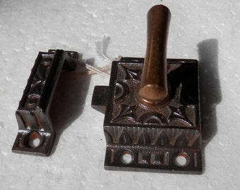 Antique vintage cast iron and brass cupboard latch and catch. woodworking, restore,