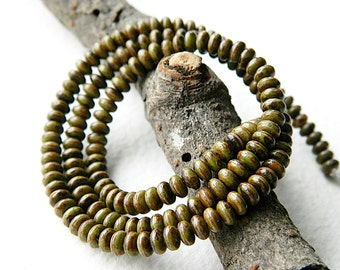 Olive Green & Picasso Czech glass donut beads, Rondelle glass beads, 4mm, Rustic Olive Green with Picasso glass beads (100pcs) NEW