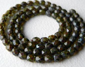 6mm Picasso Aqua Czech Glass Beads, Czech Fire Polished beads, Aqua & rustic Picasso 6mm (50pcs)
