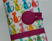 White or Aqua Colorful Bright Cats Spill Proof Knitpicks Interchangeable Circular or Crochet  Knitting Needle Case Roll Organizer Green Blue