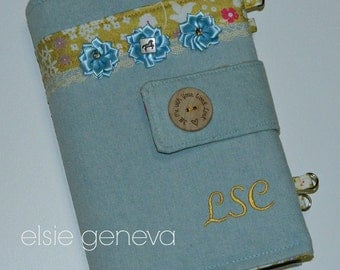 Made to Order Personalized Horse Western Denim Light Blue and Yellow Gold Floral and Lace Bible Cover Optional Handles