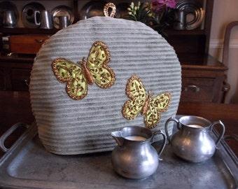 Large Tea Cozy With Bronze Beaded Butterflies