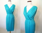 Lovely 1960's Lilli Diamond Designer Cocktail Party Dress in Turquoise Silk Crepe Rockabilly VLV Pinup Girl Vixen Hourglass Size-Medium