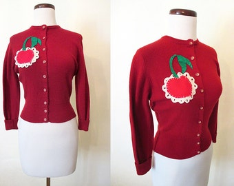 "CLEARANCE Adorable 1950's Cashmere Sweater Appliqué Cherry on Shoulder by ""Jean Scott"" Rockabilly VLV Pinup Sweater Girl Size-X-Small-Small"