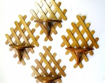Vintage Popsicle Stick Shelves, Four Vintage Folk Art Shelves, Wooden Popsicle Stick Shelf Set, Vinage Handmade Folk Art Shelf Set