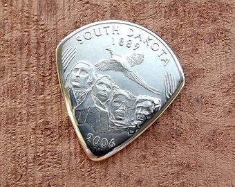 Mini Coin Guitar Pick - Premium Quality - Jazz Stubby - Handmade with a High grade 2006 South Dakota State Quarter - Artisan Guitar Pick