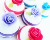 Miniature Foods & Sweet Roses Polymer Clay Supplies for Beaded Jewelry 6 pcs