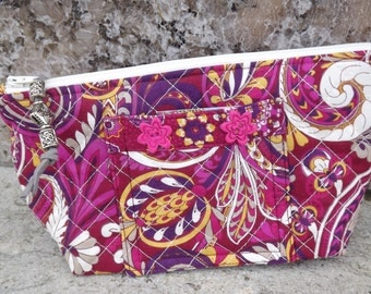 Quilted Make up Bag, Cosmetic Case, Gadget Case, Pink Paisley