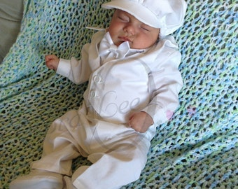 Baby Boy White Christening outfit, Baby Boys Blessing suit,  Christening Romper