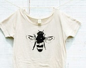 Bee Shirt, Women, Organic Cotton, Honey Bee, Bamboo, Organic shirt - S M L XL- Bee Clothing, Honey Bee Tshirt,Bug, Bee art, Bumble bees