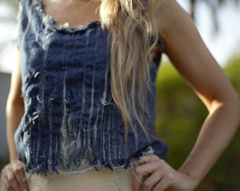 frayed denim top, tatter denim tank, crop denim top, distressed denim crop top