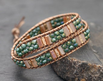 Rectangle Faceted Contrast Crystal Wrap Bracelet