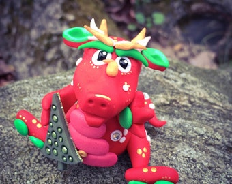 Polymer Clay Dragon 'Holly' - Limited Edition Christmas Holiday Collectible