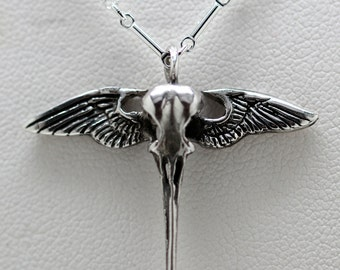 Angel-Winged Sterling Hummingbird Skull Necklace (sterling chain) Made in NYC