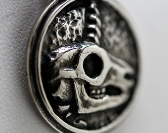 Unicorn skull pendant in recycled white bronze or sterling silver made in NYC