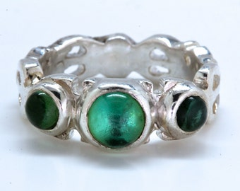 Sea Foam Green Tourmaline Three Stone  Sterling Silver Ring
