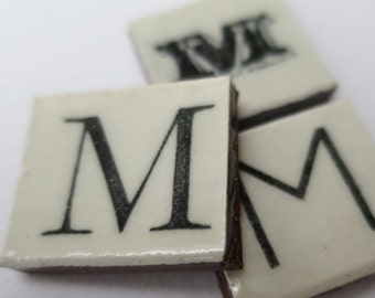 M Ceramic lettering, scrabble sized alphabet tiles hand made in the UK