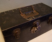 Older Rustic Tackle Box, Black Chippy Paint, w/Organizing Tray, Kennedy Kits